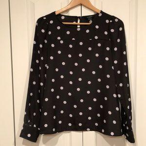 JCrew black and white polka dot blouse